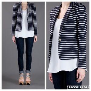 Michael Kors navy & white striped knit blazer